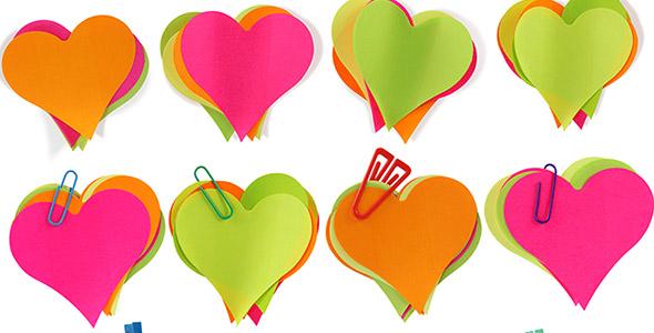 تصویر کاغذ یادداشت رنگی طرح قلب