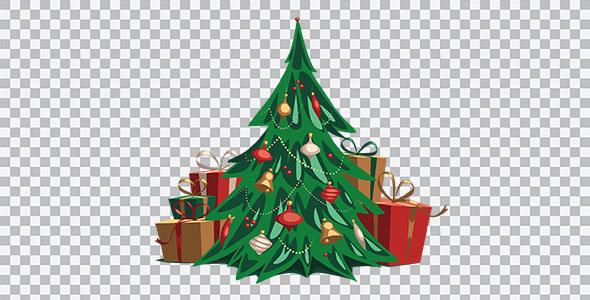 تصویر PNG درخت کریسمس با جعبه کادو