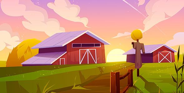 وکتور پس زمینه طبیعت تابستانی و مزرعه