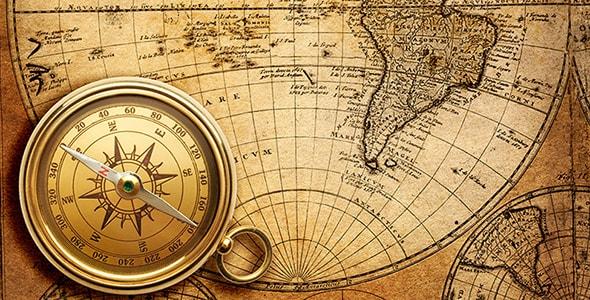 تصویر نقشه و قطب نمای قدیمی