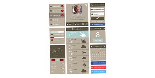 فایل لایه باز عناصر طراحی اپلیکیشن موبایل
