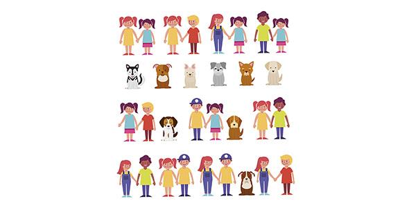 وکتور کاراکتر دختر و پسر بچه با حیوانات