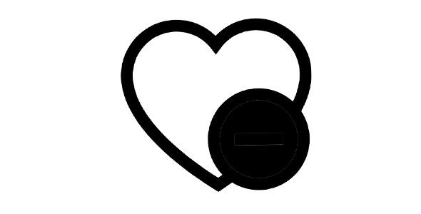 آیکون قلب خالی و علامت منفی