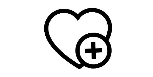 آیکون قلب و علامت مثبت