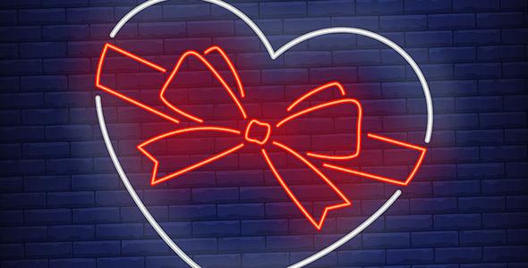 وکتور قلب و پاپیون با نور نئون و دیوار آجری