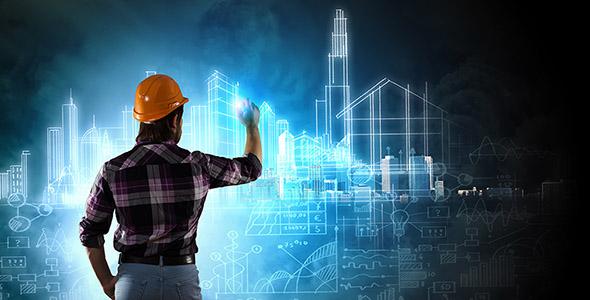تصویر مرد معمار در حال کشیدن نقشه