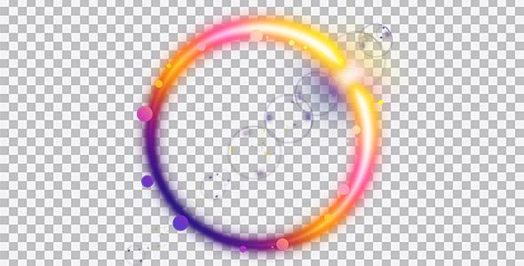 تصویر PNG دایره نورانی با حباب رنگی
