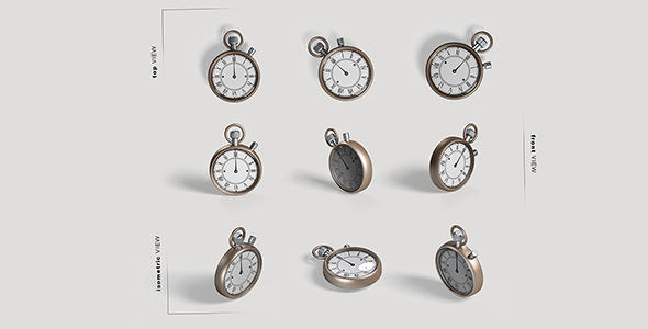 فایل لایه باز زوایای مختلف آیکون ساعت جیبی