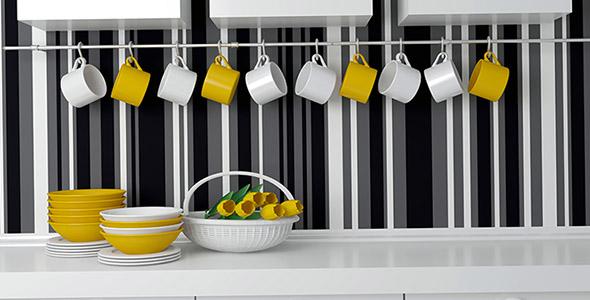 تصویر دکوراسیون زرد و سفید آشپزخانه