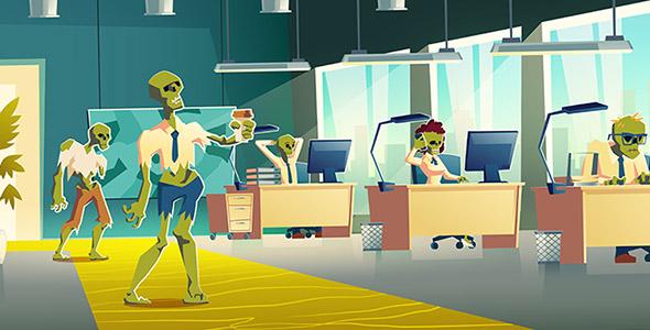 وکتور کارتونی زامبی ها در اداره و دفتر کار
