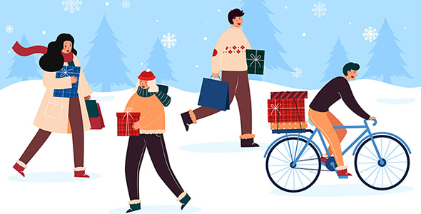 وکتور کاراکتر انسان در حال خرید کریسمس