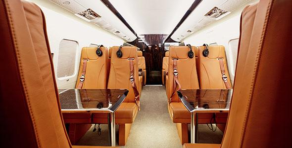 تصویر دکوراسیون داخلی هواپیمای خصوصی
