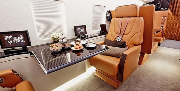 تصویر نمای داخلی هواپیمای خصوصی
