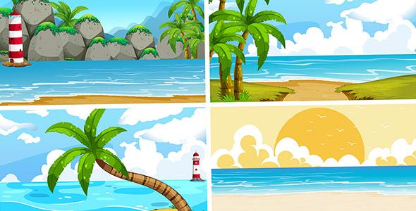 وکتور تصویرسازی طبیعت و منظره تابستانی