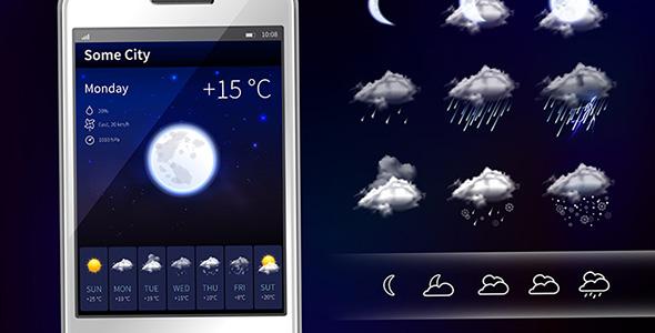 وکتور موبایل و آیکون های هواشناسی