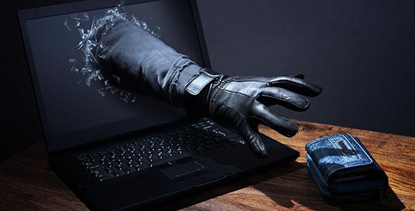 تصویر لپ تاپ با مفهوم هک و دزدی