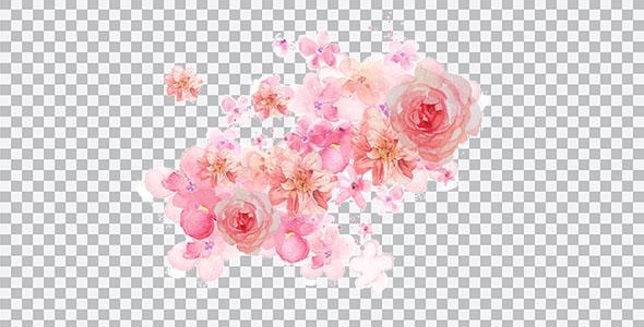 تصویر PNG گل آبرنگی با سایه