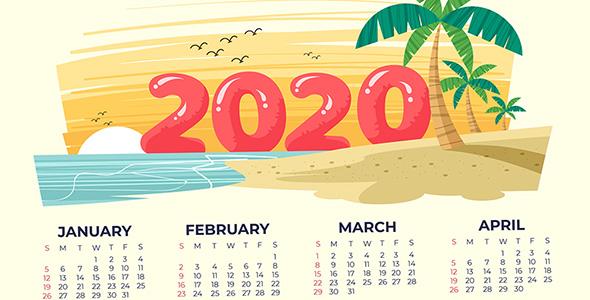 وکتور تقویم سال 2020 و ساحل دریا