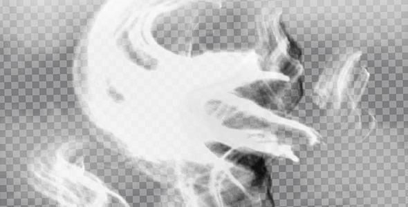 تصویر PNG دود سیاه و سفید در هوا