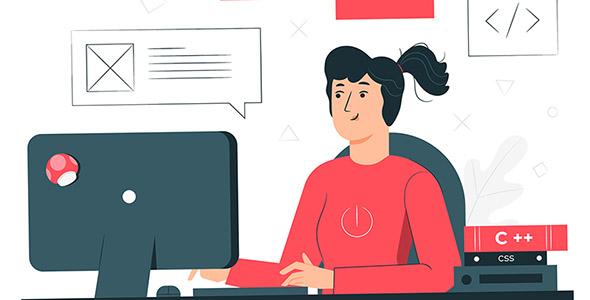 وکتور کاراکتر کارتونی دختر برنامه نویس