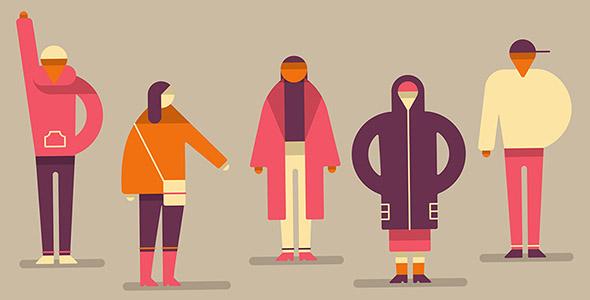 وکتور کاراکتر کارتونی انسان و لباس پاییزی