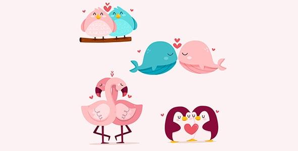 وکتور کارتونی حیوانات و روز ولنتاین