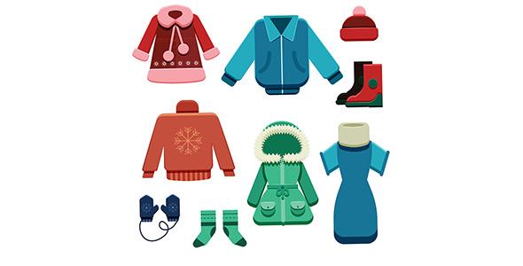 وکتور مجموعه لباس های زمستانی