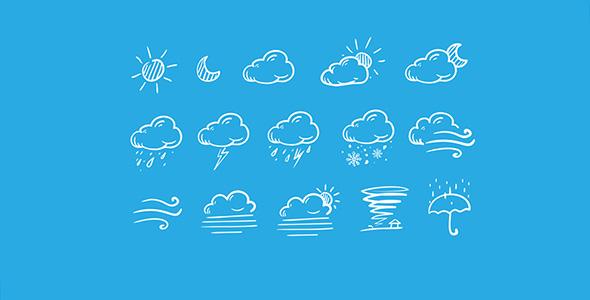 فایل لایه باز مجموعه آیکون هواشناسی