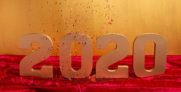 تصویر عدد سه بعدی طلایی سال 2020
