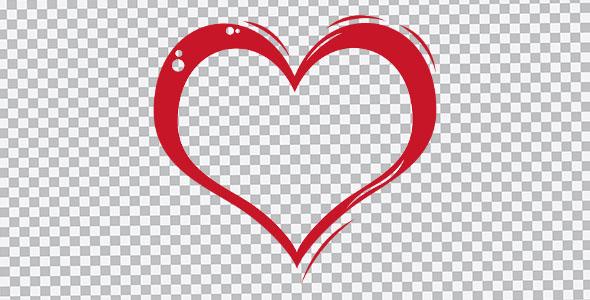 تصویر PNG دست کشیده قلب قرمز