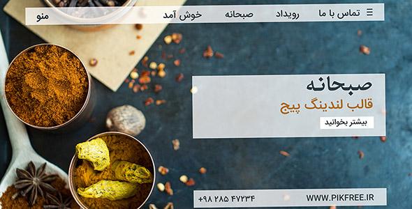 فایل لایه باز قالب لندینگ پیج غذای هندی