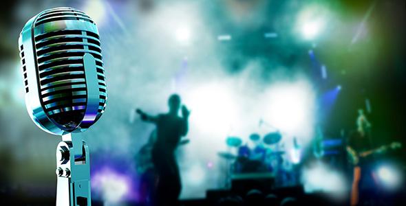 تصویر میکروفون با مفهوم موسیقی زنده