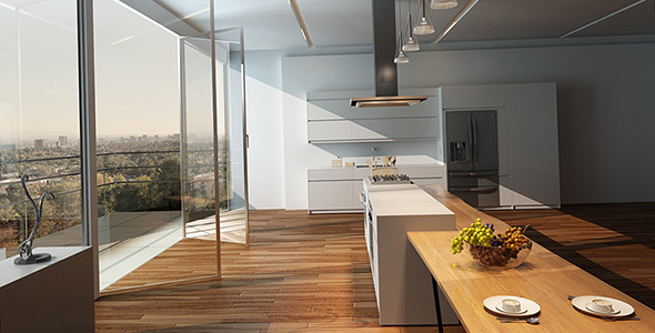 تصویر دکوراسیون آشپزخانه با کفپوش چوبی