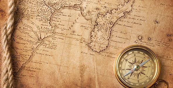 تصویر نقشه با طناب و قطب نمای قدیمی