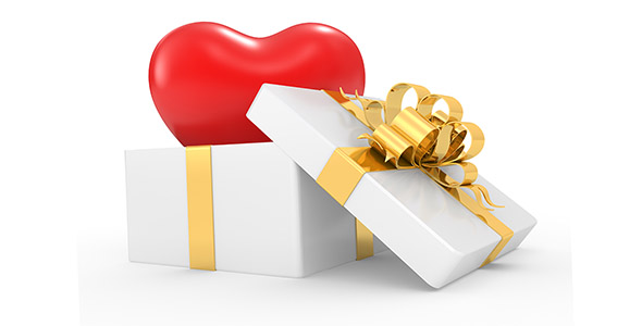 تصویر جعبه کادو با قلب قرمز