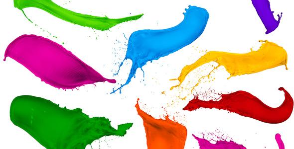 تصویر مجموعه پاشیدن رنگ ها