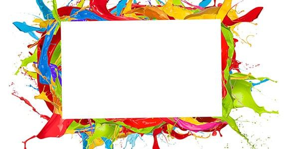 تصویر قاب روی رنگ های پاشیده شده