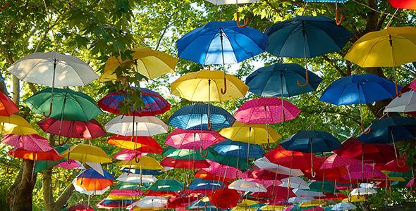 تصویر پس زمینه پارک با چترهای رنگارنگ
