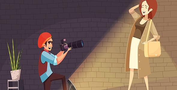 وکتور کاراکتر کارتونی در استودیوی عکاسی
