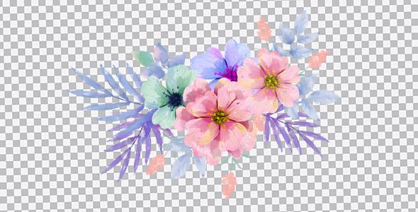 تصویر PNG گل های بنفش آبرنگی