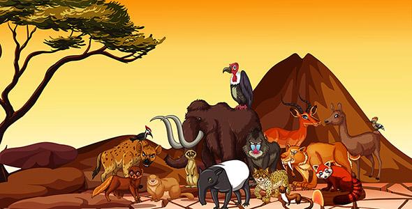 وکتور کارتونی مجموعه حیوانات صحرایی