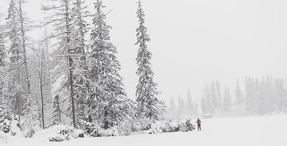 تصویر انسان در منظره زمستانی