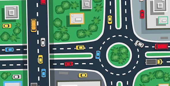 دانلود وکتور,وکتور,vector,کارتونی,کارتون,نمای بالا,ترافیک,ترافیک شهری,شهر,نقشه,نقشه شهر,طراحی فلت,فلت