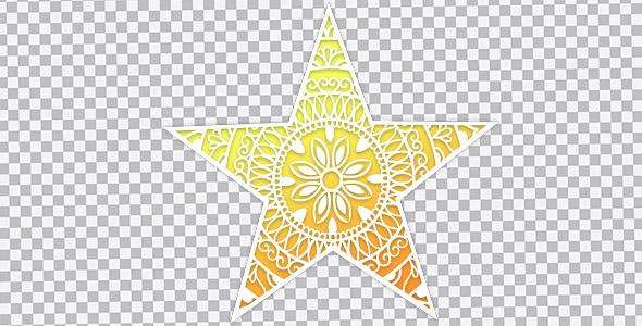 تصویر PNG ستاره طلایی با طرح اسلیمی