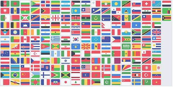 فایل لایه باز مجموعه پرچم کشورها