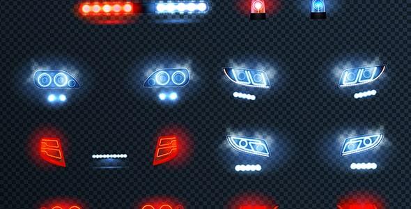 وکتور طرح واقع گرایانه مجموعه چراغ خودرو