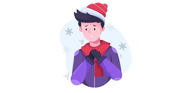 وکتور کاراکتر کارتونی با مفهوم سرما