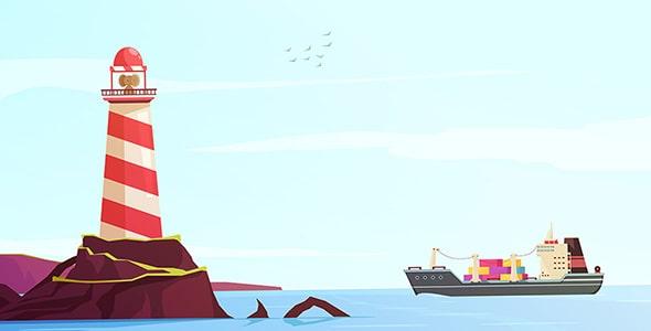 وکتور کارتونی دریا با کشتی و فانوس دریایی