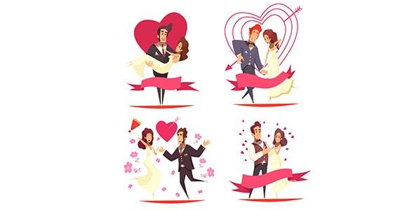وکتور کاراکتر کارتونی عروس و داماد