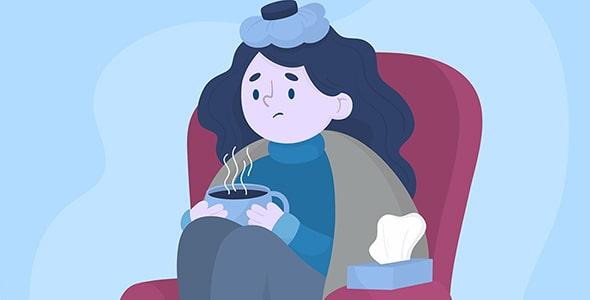 وکتور کاراکتر کارتونی با مفهوم سرماخوردگی